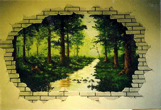 Diesmal Innerhalb Des Hauses Wohnzimmer Mit Gemalten Schatten Und Lichteffekten Optischer Durchbruch In Der Wand Geschaffen Blick Auf Einen Wald